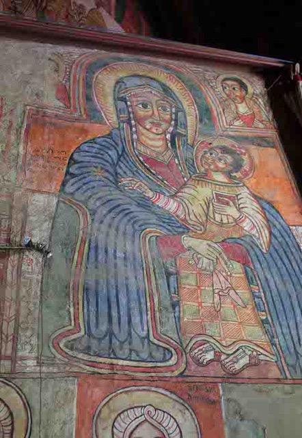 Image: Virgin Mary and Christ child after the Virgin of Santa Maria Maggiore model, painted on the mäqdäs (sanctuary) of the Ethiopian Orthodox Church of Däbrä Sina Gorgora, c. 1620s. Photograph, Kristen Windmuller-Luna, 2013.